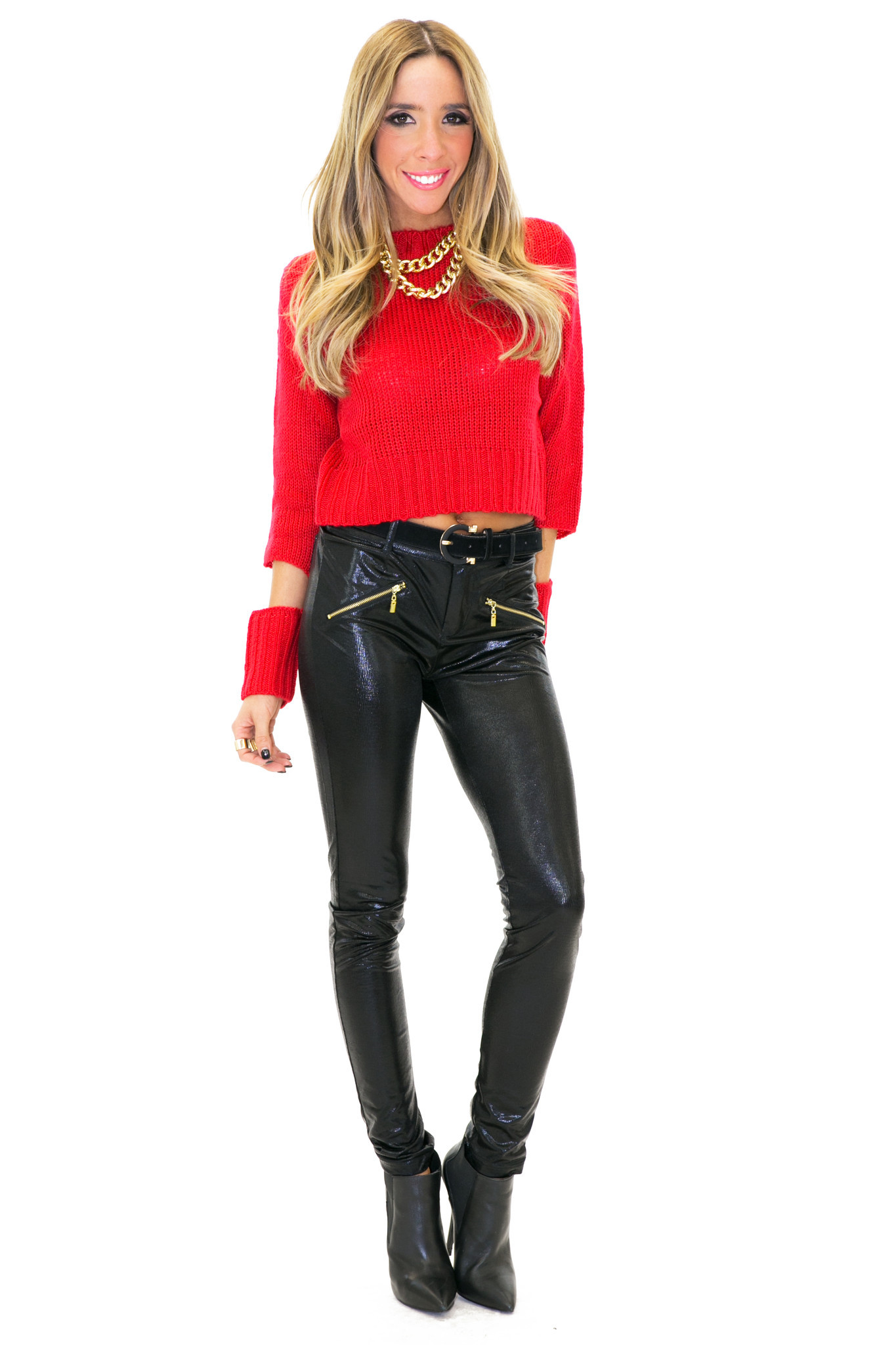 HAL CUT SLEEVE CROP KNIT SWEATER - Red   Haute & Rebellious