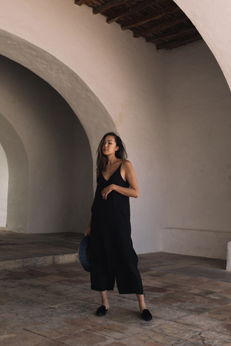 the chriselle factor blogger top pants shoes hat black pants tumblr cropped pants mules camisole