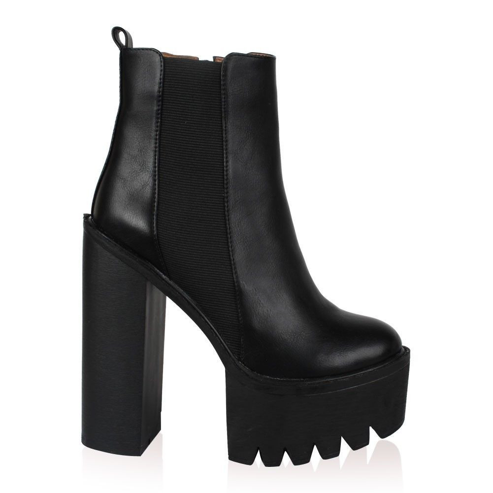 Nicole cleated sole platform heel boots