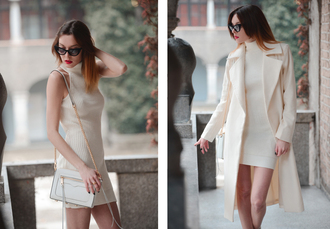 carolina krews blogger off-white sweater dress cat eye winter coat coat dress bag sunglasses