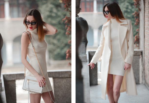 Coat: carolina krews, blogger, off-white, sweater dress, cat eye ...