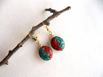 jewels tibetian handmadejewelry nepales earrings turquoise coral red aqua blue