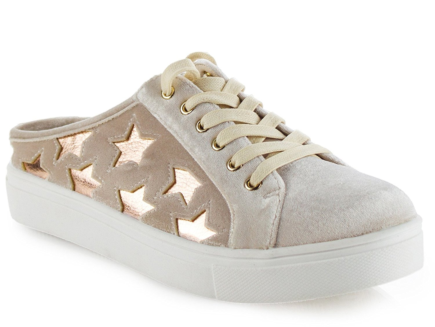 3c766d4121b1f Amazon.com | ROF Embroidered Floral Metallic Lace Up Low Top Sneaker |  Fashion Sneakers
