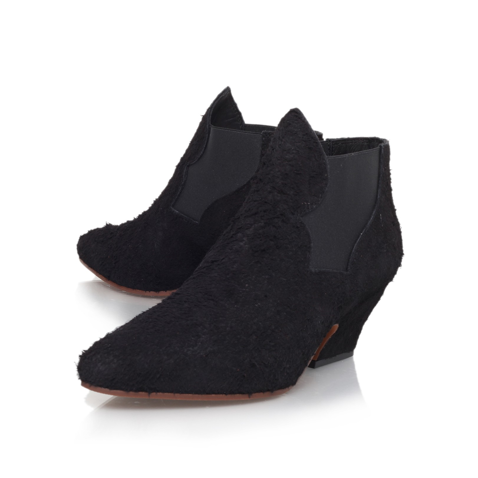 Kurt Geiger | ALMA TEXTURE Black Low Heel Chelsea Boots by Acne