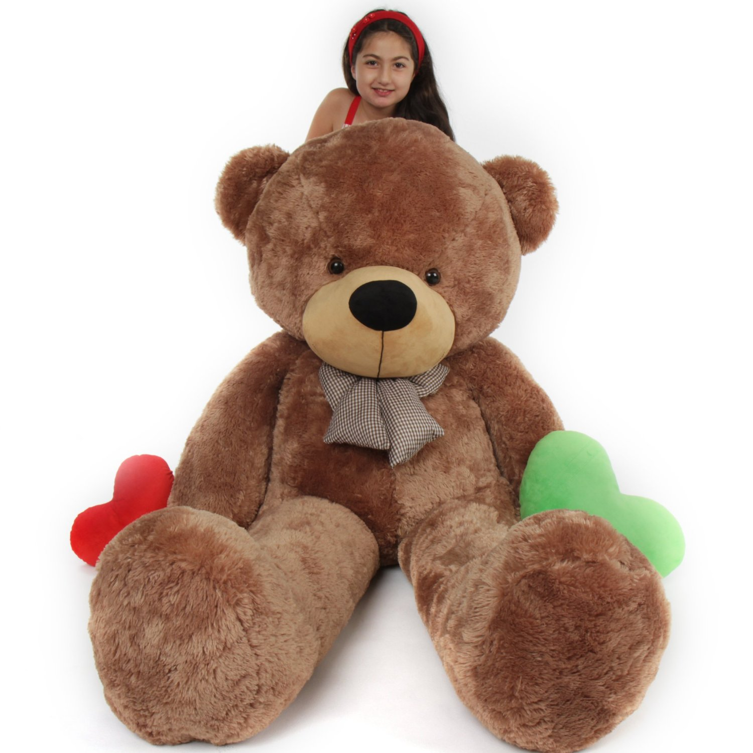 Amazon.com: 6 Foot Life Size Teddy Bear Mocha Color Huggable Plush Teddy Bear Sunny Cuddles: Toys & Games