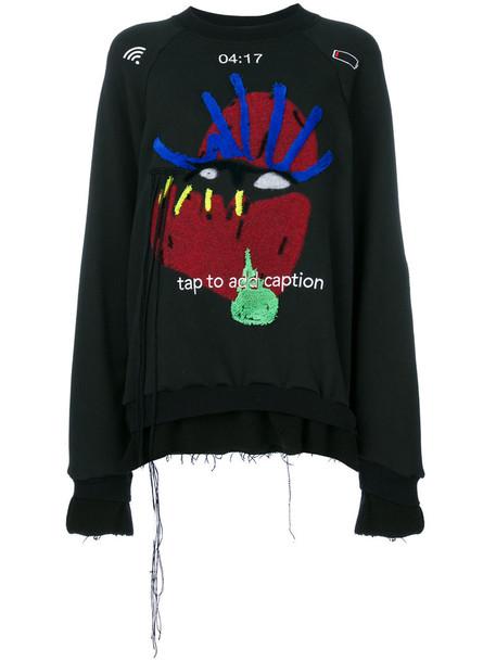 Maison Margiela - graphic applique detail sweatshirt - women - Cotton/Wool - 38, Black, Cotton/Wool