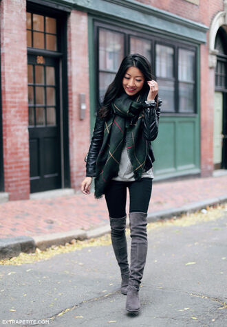 extra petite blogger scarf t-shirt jacket jeans shoes bag suede boots grey boots over the knee boots blanket scarf leather jacket grey shirt green scarf black leggings grey knee high boots