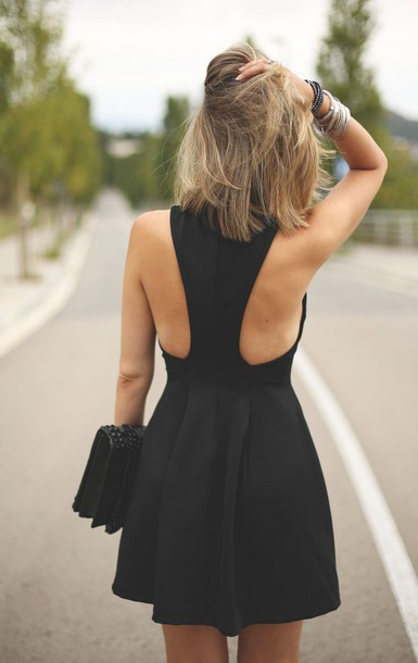dress black skater back girl black dress skater dress little black dress cocktail dress black dress classy modern cute dress