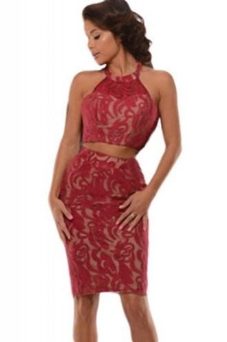 skirt red red lace party skirt wots-hot-right-now halter neck