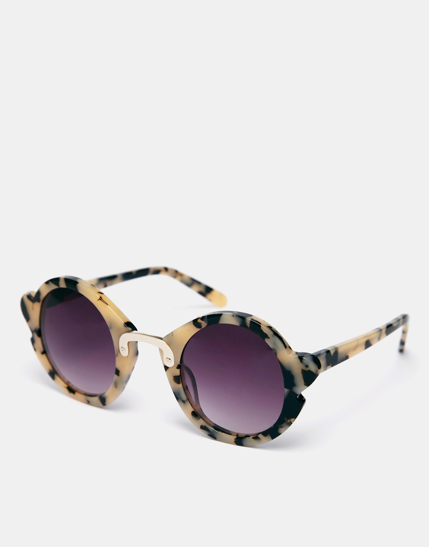 ASOS Handmade Acetate Round Sunglasses With Nose & Corner Detail at asos.com