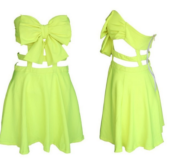Cute bow hot strapless dress