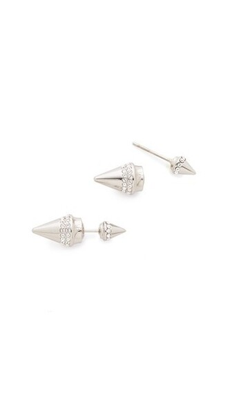 crystal earrings mini clear earrings silver jewels