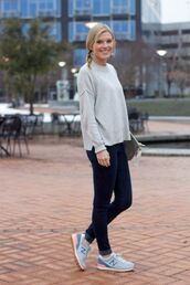 life with emily,blogger,grey sweater,nike sneakers,leggings,sweater,shoes,jewels,bag