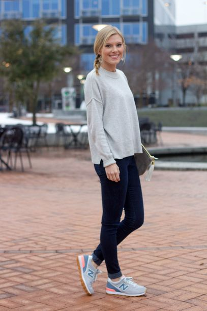 life with emily blogger grey sweater nike sneakers leggings sweater shoes jewels bag