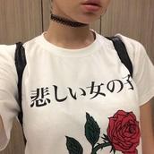 shirt,white t-shirt,roses,white,rose,black and white,teenagers,cute,girl,t-shirt,chinese,japanese,chinese writing