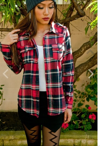 blouse flannel red flannel flannel