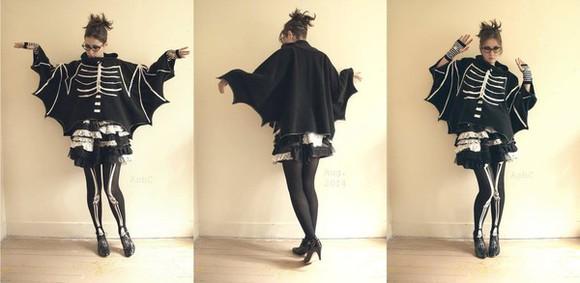 bones jacket goth bat bats