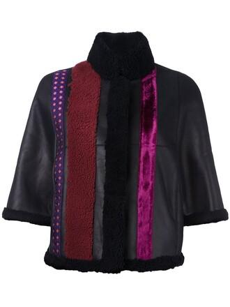 jacket leather jacket fur women leather black