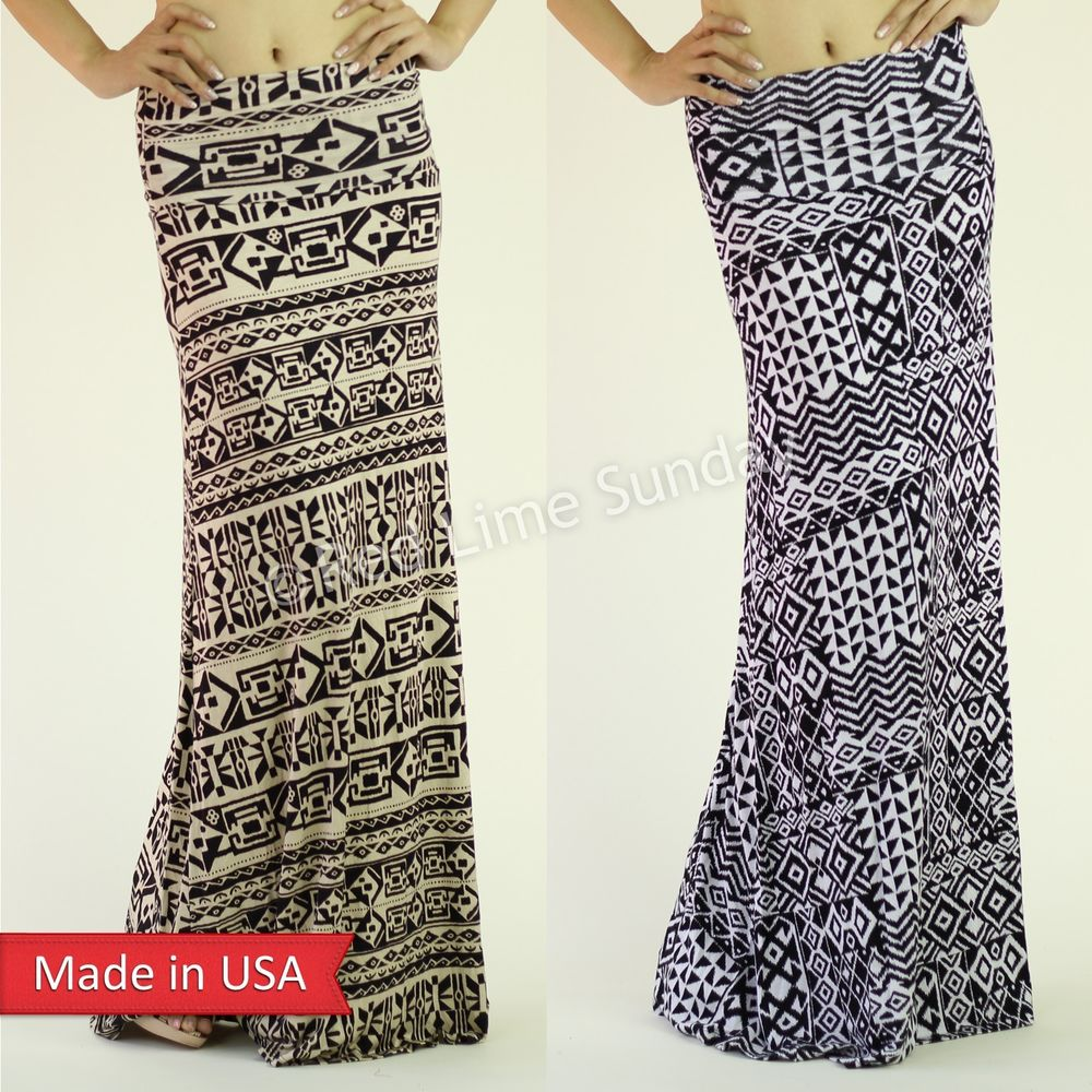 Aztec Tribal Pattern Black White Taupe Fold Over Stretch Long Maxi ...