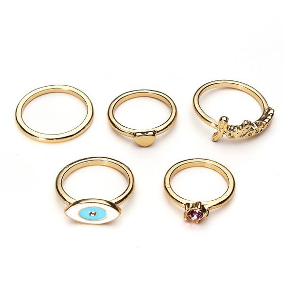 heart jewels ring 5 pcs gold plated letter gem banggood