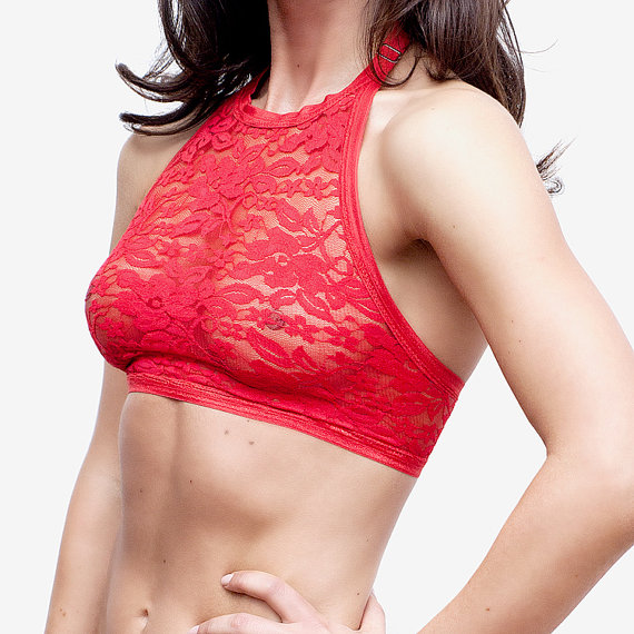 8dbcb59371 Red Lace Bralette   Halter Bra   Halter Top   Lace Top   Sheer Lace ...
