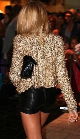 shirt sequin shirt shorts sequin jacket jacket gold jacket leather shorts black shorts girly gold gold sequin jacket
