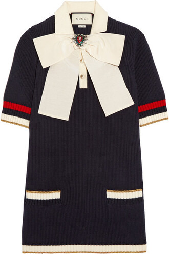 tunic bow navy cotton top