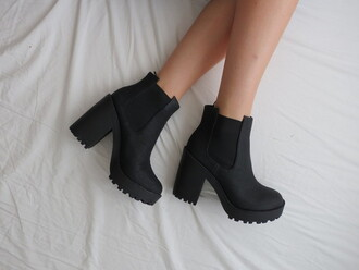 boots chunky heels shoes