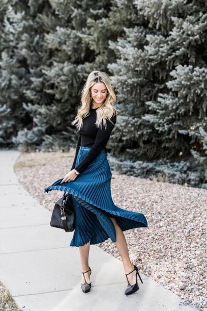 ivory lane blogger top skirt jeans high heel pumps midi skirt pleated skirt