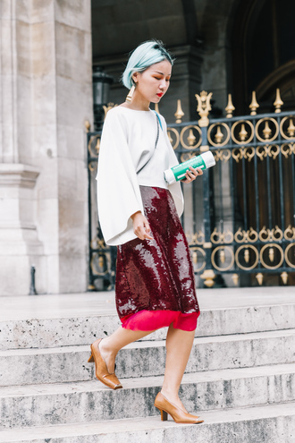 skirt tumblr streetstyle midi skirt sequins sequin skirt red skirt top white top pumps shoes brown shoes