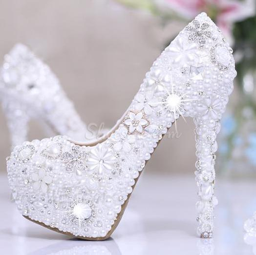 Luxurious Diamond Flowers White Pearl Closed Toe Stiletto Heel Wedding Shoes