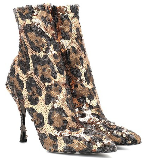 Dolce & Gabbana Sequined ankle boots in metallic