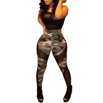 pants leggings camouflage army pants high waisted jeans leather crop tops