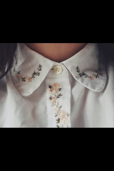 button up blouse collar embroidery shirt