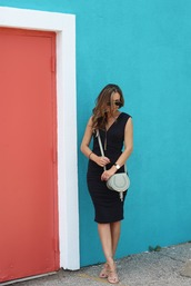 lilly style,blogger,shoes,bag,sunglasses,jewels,black dress,shoulder bag,mini bag,aviator sunglasses,lace up heels,nude heels,zip,black midi dress,zipped dress,sleeveless dress,sleeveless,crossbody bag,lace up sandals,work outfits