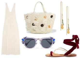 bagsnob blogger dress sunglasses jewels bag shoes summer outfits basket bag sandals