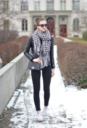 vogue haus,blogger,sunglasses,knitted scarf,houndstooth,leather jacket,sweater,jeans,jacket,shoes,bag,scarf,jewels