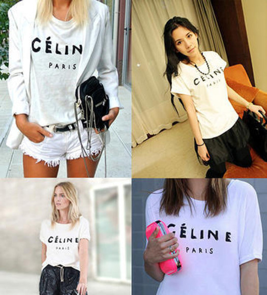 shorts t-shirt celine celine paris t shirt