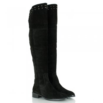 Daniel Lamar Suede Black Over Knee Boots