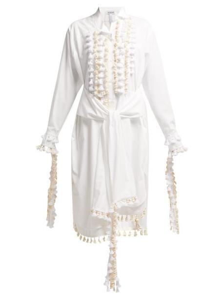 Loewe - Tassel Trimmed Cotton Shirt Dress - Womens - White