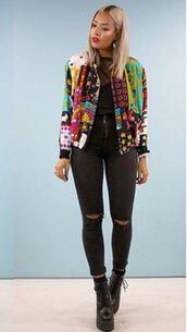 jacket,bomber jacket,embellished,model,multicolor,casual,rad,rock,black ripped jeans