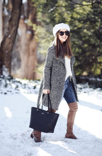 dress corilynn blogger sweater coat jeans shoes sunglasses bag winter outfits beanie grey coat boots over the knee boots