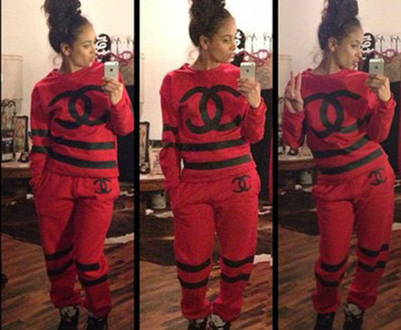 chanel sweater cute red sweatpants sweatshirt