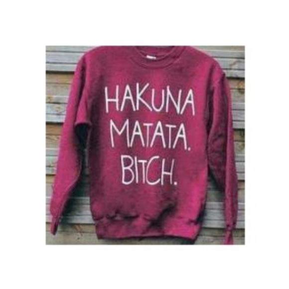 sweater hakuna matata red white