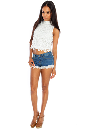 Lace Hem Denim Hotpants