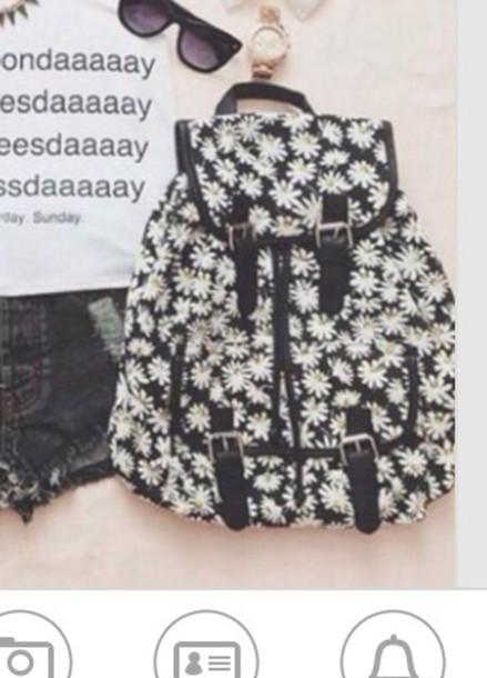 bag black daisy white cute