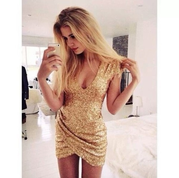 top sequins gold dress