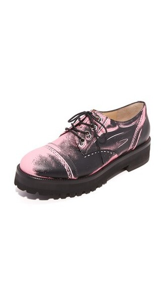 oxfords leather black pink shoes