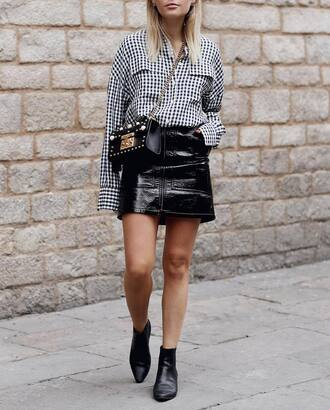 skirt tumblr mini skirt black skirt leather skirt gingham shirt bag crossbody bag black bag embellished embelished bag boots black boots ankle boots