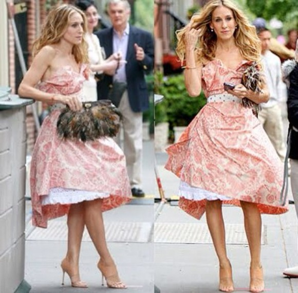 dress carrie bradshaw pink floral dress vivienne westwood